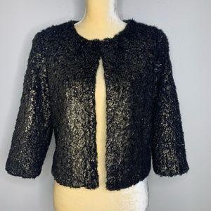 NWT Chelsea Violet Fuzzy Gold Black Bolero Jacket